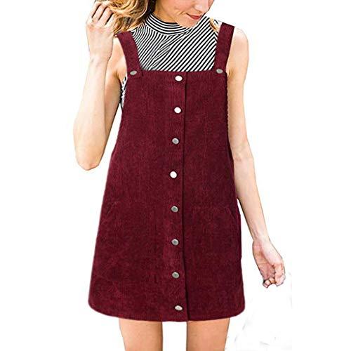 Keliay Bargain Damen Mini-Lätzchen, aus Cord, gerade, mit Knöpfen - rot - X-Groß