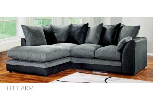 Dylan Byron Corner Group Sofa Black and Charcoal Right or