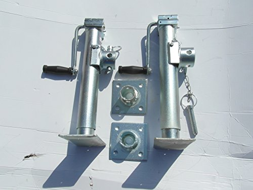 Preisvergleich Produktbild BESO Stützfuß 440 mm verzinkt klappbar m. Flansch, Kurbel, Montageschrauben Satz 2 Stück