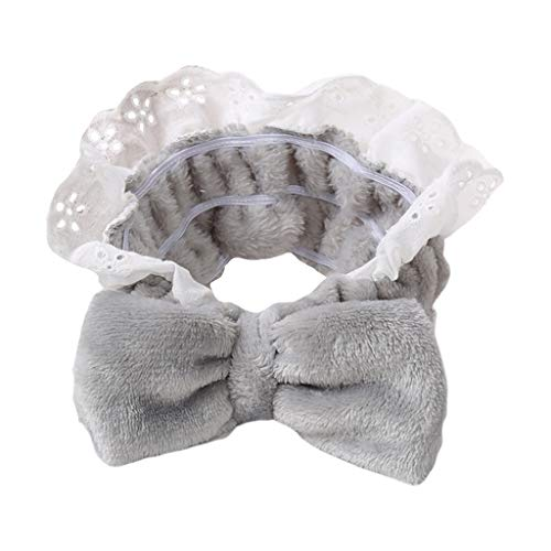 chenpaif Japanese Sweet Candy Color Bowknot Hairband Women Girls Romantic Ruffled Lace Trim Headband Princess Makeup Bath Velvet Headwrap Gray