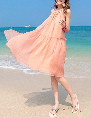 MODETREND Damen Strandkleid mit Bohemien Chiffon Elegante Kleider Ballkleid Sommerkleid Abendkleid Rosa