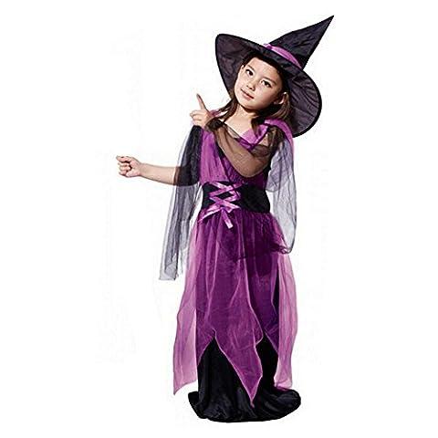 Oyedens 1pcs Kinder Mädchen Halloween Kostüm Kleidung Partei Kleider + Hut (90)