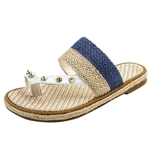 LSAltd Mode Frauen Sommer Lässig Komfortable Weave Gürtel Flache Klippzehe Outdoor Strand Hausschuhe Sandalen Römische Schuhe