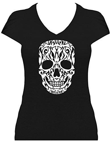 Fun Shirt Premium Damen Skull grosser Totenkopf Tattoo Design Glitzeraufdruck Schwarz-weiss