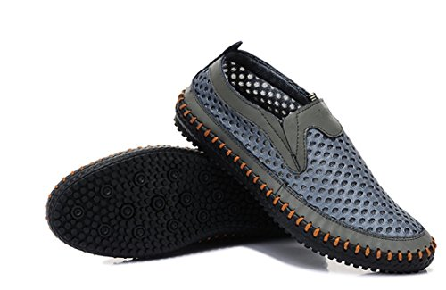 FSTOEE Water Shoes for Men's Mesh Casual Walking Shoes Slip-on Loafers Gray(42) (Chart Kids Us Size)