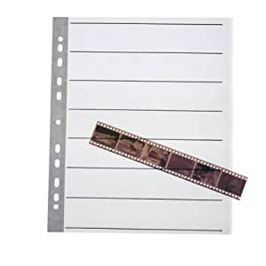 Pixel Peeper Lot de 25 pochettes en plastique pour films négatifs 35 mm Sans acide et sans danger pour l'archivage Pages en papier ciré pour classeur à anneaux