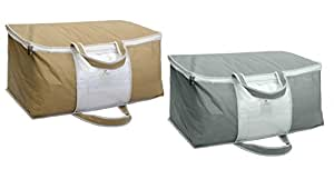 HomeStrap Set of 2 Underbed Storage Bag, Clthes Organizer, Blanket Cover with Front Handle - Grey & Beige