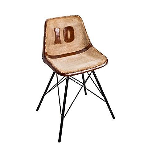 Design Stuhl RUGBY braun mit Echtleder Bezug mit Eisen Gestell Esszimmerstuhl Küchenstuhl Echt Leder