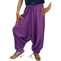 Sarjana Handicrafts Pantalones bombachos para hombres, de algodón, estilo genio, de yoga, harem, Hombre, color morado, tamaño XL