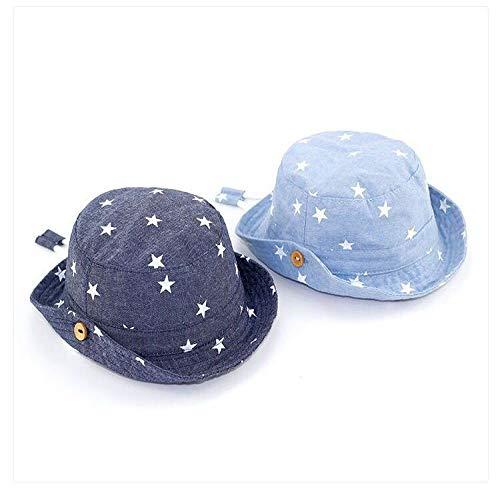 Einfach Alte Person Kostüm - Hut Fischer Hut Frühling und Sommer Denim Farbe Sterne Baby Fischer Hut Manschette Hut Kind Sonnenschirm Sonnenhut dunkelblau, leicht blue, wirkt sich nicht auf den Umsatz 46cm