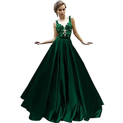 Cloverbridal Sexy Smaragdgrün Satin Prom Kleider Lange 2018 Spitze Appliques Ballkleid Abendkleider Party Kleider Smaragdgrün 44