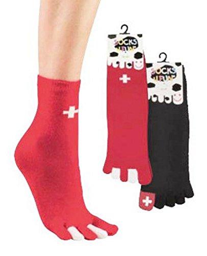 2paio di calzini con 5dita Svizzera singolo per uomo e donna CH Flash 2185 nero+rosso Taglia unica