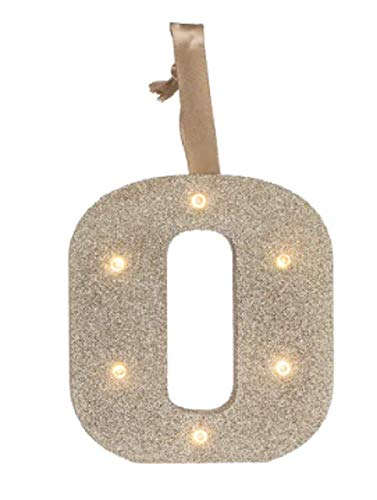 Generic Beleuchtete Buchstaben, LED, Goldener Glitzer, aus Holz, Alphabet, Lichter für Festivals, Dekoration, Kinderzimmer, Party, Hochzeit (Wand oder Tischplatte) Monogramm Initiale O