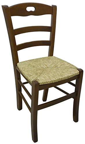 Savino fiorenzo ordine min. 2 pz sedia paesana in legno massello noce con seduta in paglia