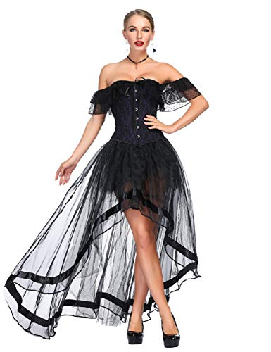 FeelinGirl Damen Korsagekleid Steampunk Gothic Kostüm Magic Mistress Hexenkostüm Teufelchen Halloween Cosplay Priatbraut (XL (EU 42-44), Violett(Korsage+Rock))
