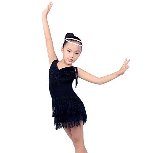 Latin Kostüm Kinder Dance - BOZEVON Mädchen Sling V-Ausschnitt Quaste Latin Dance Kleider Performance Kostüm (140, Schwarz)