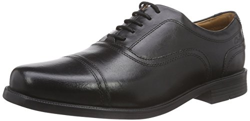 ClarksBeeston Cap - Mocassini uomo , Nero (Nero (Black Leather)), 43