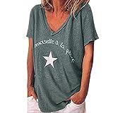 Day.Lin T-Shirts à Manches Courtes Femmes Sexy Col en V Couleur Pure Lettre...