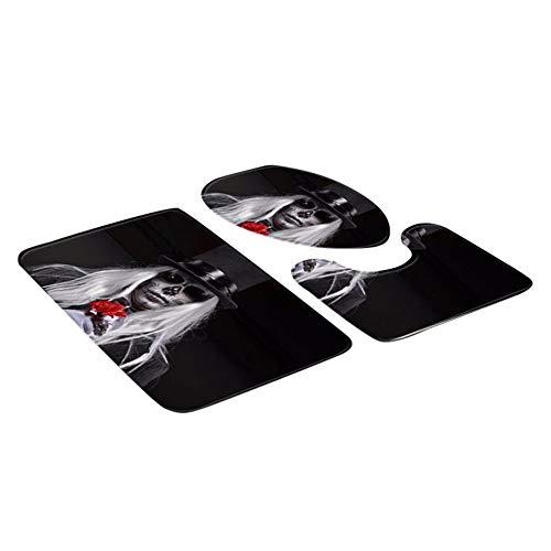 Teppich-Set WC-Bad-Matten Wasser-absorbierende Anti-Rutsch-Bad Fußmatte Bodenmatte Blut Handabdruck Badezimmer Toilette DREI Stück Bodenmatte Fußmatte Bad Teppich ()