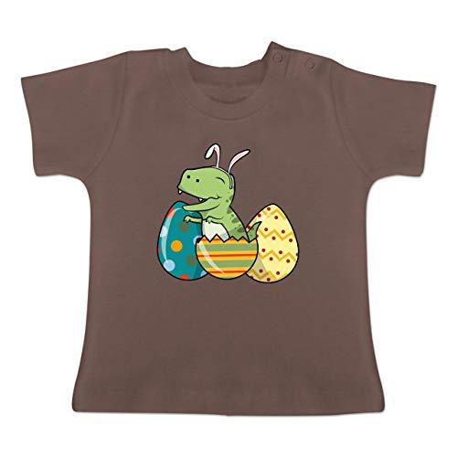 Anlässe Baby - Dino Osterei - 3-6 Monate - Braun - BZ02 - Baby T-Shirt Kurzarm