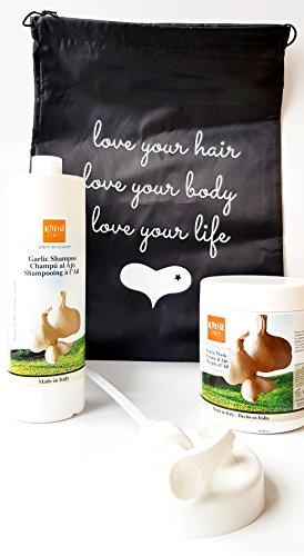 Alter Ego Garlic Hair Care Duo - 1x Garlic Shampoo 1L plus 1x Garlic Hair Mask Treatment 1L with Love Your Life Drawstring Bag