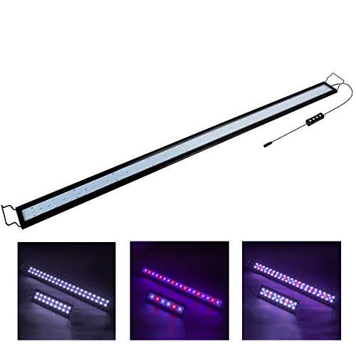 Hygger 32W Aquarium LED Beleuchtung, Aquarium LED Lampe mit Timer, dimmbare, LED Aquarium Licht mit Verstellbarer Halterung für 111cm-137cm Aquarium Fisch Tank Fisch Pflanze(Weiß & Blau & Rot Licht)