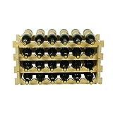 TIDLT 24 Stapelbare Modulare Weinregal-Flaschenregal Freistehende Solide Naturholz-Weinhalter-Display-Regale (4-Tier, 24 Flaschenkapazität) (Farbe : Wood color-70 * 30 * 44.5cm)