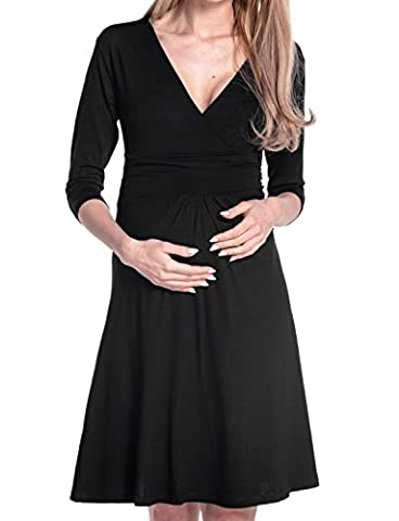 Happy Mama Femme maternité jolie robe de grossesse à manches 3/4 col V 282p (Noir, 48)