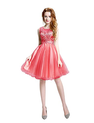 Sarahbridal Damen A-Linie Kleid Wassermelonenrot