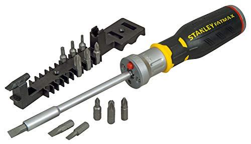Stanley FatMax Bit-Schraubendreher (mit Ratsche, 12 Bits 5/6.5/8mm;PH1/2/3;PZ1/2/3;TX10/15/20, LED Leuchte) FMHT0-62689