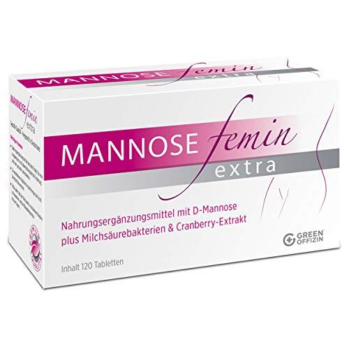 Mannose Femin Extra - Blasenentzündung und Harnwegsinfekte behandeln + vorbeugen I D-Mannose, Milchsäurebakterien & Cranberry Extrakt für Frauen I kein Pulver I 100% natürlich + vegan (120 Tabletten) -