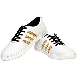 Jabra Men's White & Gold Casual Shoes