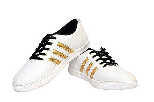 Jabra Men's White & Gold Casual Shoes