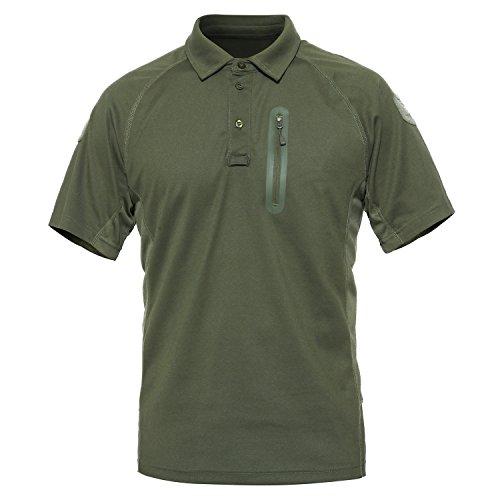 MAGCOMSEN Im Freien taktischen Polo Shirt Kurzarm Leistung Pique Jersey Golf-Polo-Hemd Mittel Armee-Grün-New
