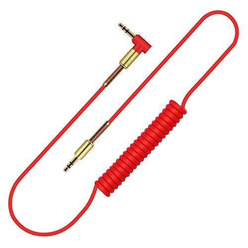 Audiokabel 1,5 m 3,5 mm Stereo-Stecker auf Stecker ausziehbares, gedehntes (rot)