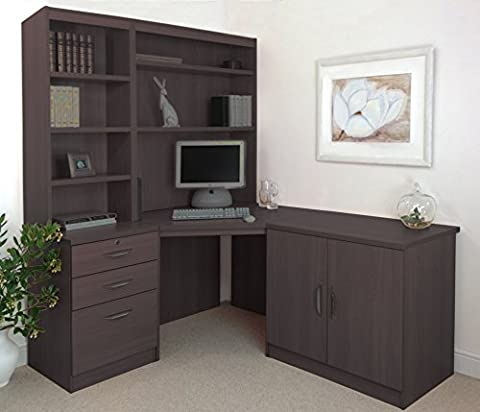 SET-19-IN-WN Walnut Computer Table Desk Hutch Bookcase With Doors Home Office Furniture UK Modern Quality Designs Collections Cupboard For Books Drawer Corner Online Gaming