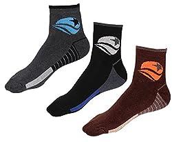Indiweaves Mens Cotton Socks (Pack of 3 Socks)-Grey/Black/Brown