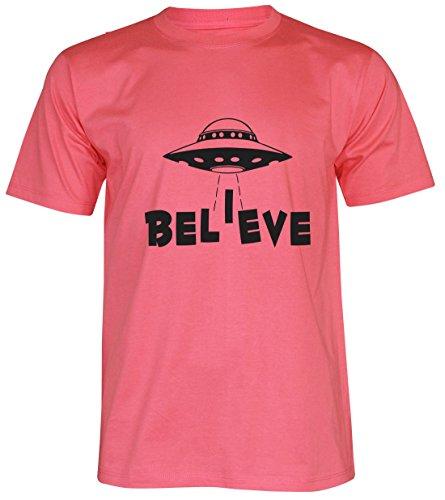 PALLAS Unisex's UFO Believe T-Shirt Pink