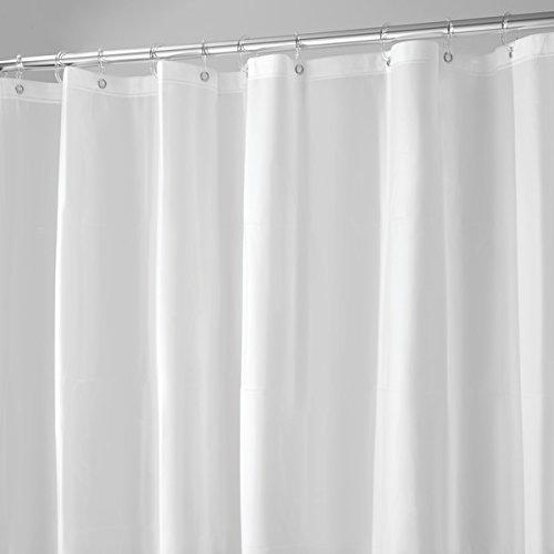 mDesign Duschvorhang Anti-Schimmel - 180 cm x 200 cm - weißer Dusch- & Badewannenvorhang - Duschvorhang wasserabweisend - 12 verstärkte Metallösen