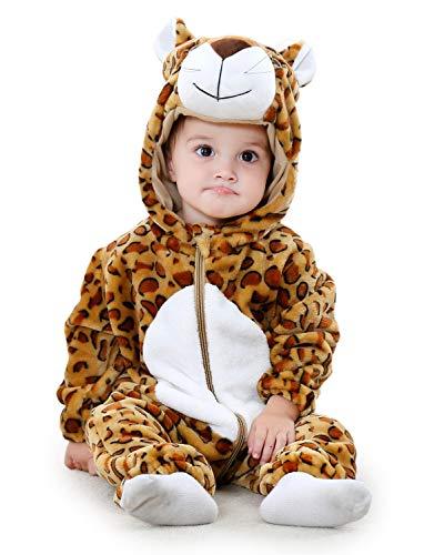 Adorel pagliaccetto termica con cappuccion tutina bambino leopardo 18-24 mesi (taglia 100)