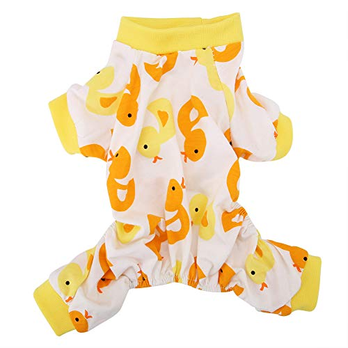 Fdit Baumwolle Haustier Overall Cartoon Ente Muster atmungsaktiv Hund Katze Pyjamas weiche niedlichen Welpen Strampler - Familie Duck Kostüm
