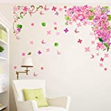ZBYLL Wall Sticker Blüte Blume Schmetterling Baum Wohnzimmer Dekoration Mädchen Schlafzimmer Aufkleber Vinyl Dekor Wandbild Tapeten
