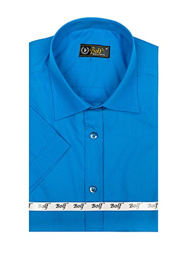 BOLF Herren Freizeithemd Kurzarm Hemd Herrenhemd Slim Fit Party 2B2 Casual Türkis_7501