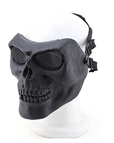 012765Tastschalter Metallic Maske für Radfahren/Halloween/Totenkopf Skelett/Airsoft/Paintball/BB Gun, eine Full Face Schutz Maske Shot Helme BK