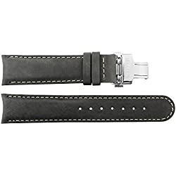 Watch Strap in Black Calf leather - 20 - - buckle in Silver stainless steel - B20021