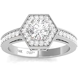 Diamond Studs Forever - Anillo de compromiso con halo de diamantes - GH/I1 - Oro blanco de 14K