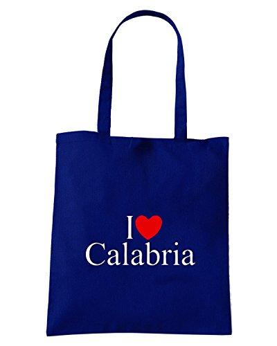 T-Shirtshock - Borsa Shopping TLOVE0078 i love heart calabria Blu Navy