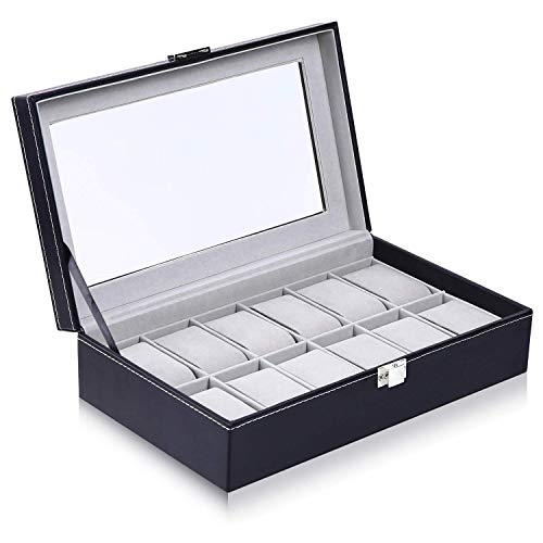 Ohuhu® Présentoir/Boîte/Coffret à Montre En Cuir / boîtier de la montre / Boîte à bijoux / Bijoux Montre affichage stockage avec plateau en verre et stockage Oreillers amovible