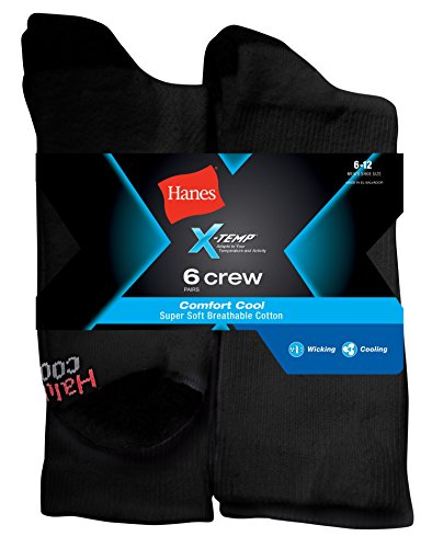 Hanes X-Temp? Comfort Cool? Men`s Crew Socks