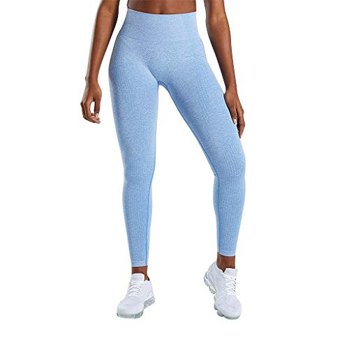 Stricken Damen Yoga-hose (Hosen Damen, Jogginghose Yoga Hosen Frauen Nahtlos Stricken Hüfte Feuchtigkeitsaufnahme Schweiß Yogahosen Sporthosen Sexy Leggings Sport Yogahose)